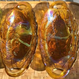 Vintage iridescent amber glass dishes (2)